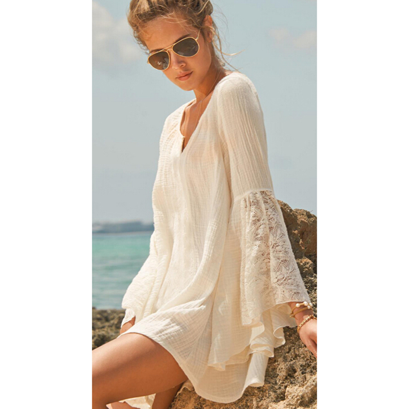 5ff13fd33e8bd Get Quotations · Hotsell Beach Cover Up 2015 !!Casual Lace Beach Dress V  Neck Long Sleeve cotton