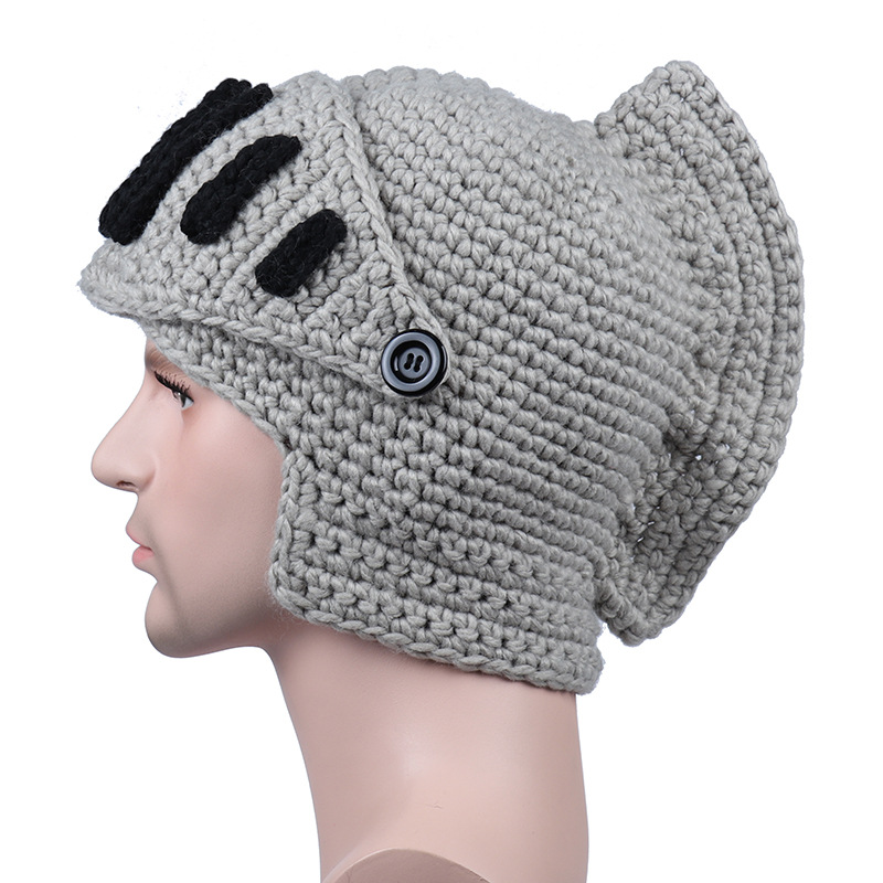 Multiple Colors Roman Knight Helmet Hat Winter Warm Mask Knitted Hat