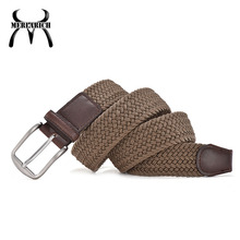 Customized elastic mens brown belt leather with gold buckle belts for dress pants