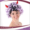 cheap short purple and black tight curly ox horn halloween party wig