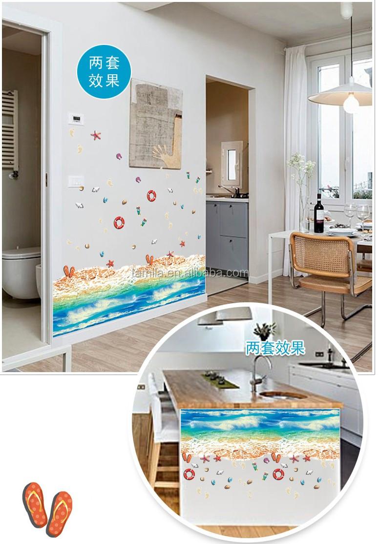 Hot 3d Floor Stickers Blue Sea Beach Wall Stickers 3d Scenery ...