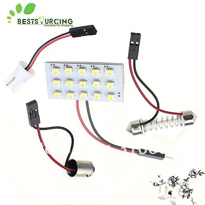 Ems бесплатная доставка 200 шт./лот 15 СМД 3528 из светодиодов 12 В купола гирлянда светильник белый панель автомобильные фары