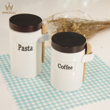 Porcelain Coffee Sugar Pasta Canister With Wood Spoon