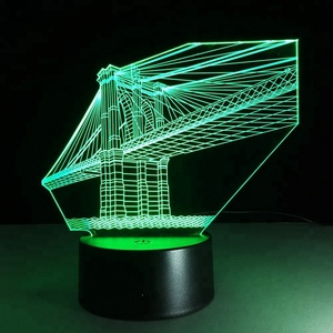 San Francisco Bridge 7 Colors Deco 3d Visual Led Night Lights For Kids Touch Usb Table Lampara Lampe Nightlight Sensor Lamp