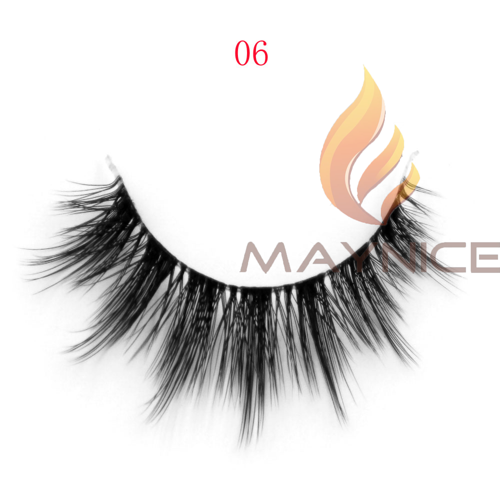 top quality 100% hand made natural looking 3D synthetic/ silk eyelash