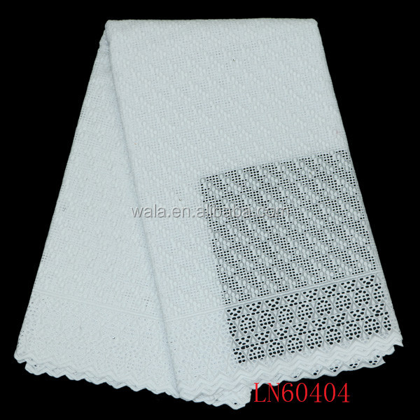 LN60404- (1) 2016 new design 100% cotton pure white color dry lace fabric for man