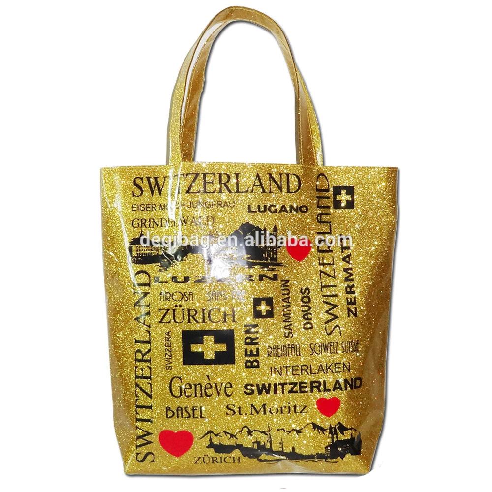 Switzerland City Name Printing Glitter Souvenir Tote Bag Gold Handbag Product On
