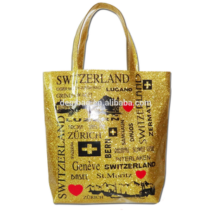 SWITZERLAND City Name Printing Glitter Souvenir Tote Bag Gold Tourist Tote Bag