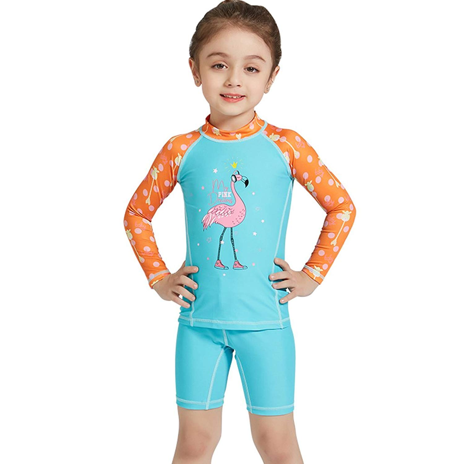 efb5541303 Get Quotations · Gogokids Girls Two-Piece Swimsuit Swimwear - Kids Long Sleeves  Wetsuits Diving Suits