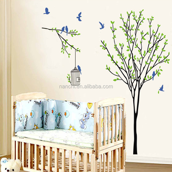 creative little birds flying green tree wall sticker children room