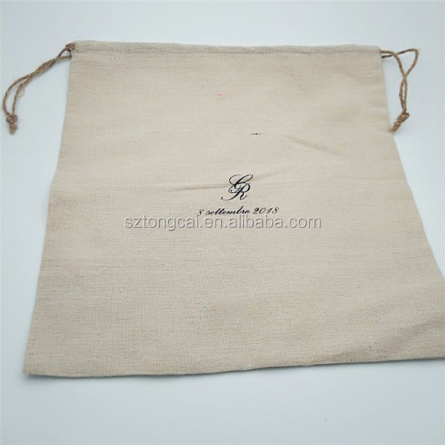 China Factory Custom Large Size Cotton Linen Drawstring Bag For Vegetables Packing