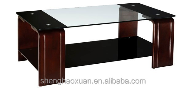 New arrival modern design glass center table wooden tea for Latest center table design