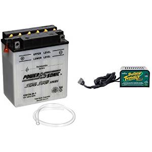 Power-Sonic 12N12A-4A-1 Conventional Powersport Battery and Deltran Battery Tender (021-0128) 1.25 Amp Battery Charger Bundle