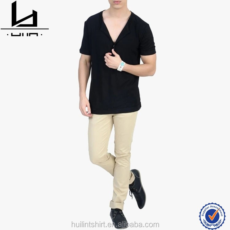 6157762a2b Online Shopping India Black Solid Deep V Neck T Shirts For Men - Buy ...