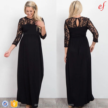8f19bfaa9a0 Designer Clothes Pregnant Women Lace Neck Long Sleeve Maternity Evening  Maxi Dresses