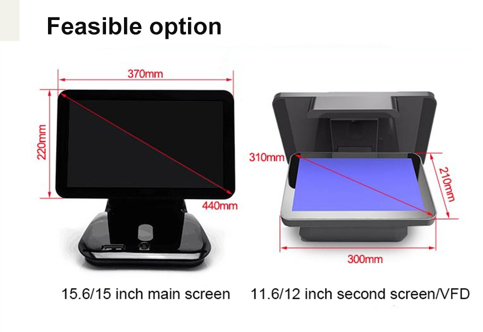15 inch 10 point flat capacitive touch screen pos system/ pos terminal with 12-inch non-touch customer display