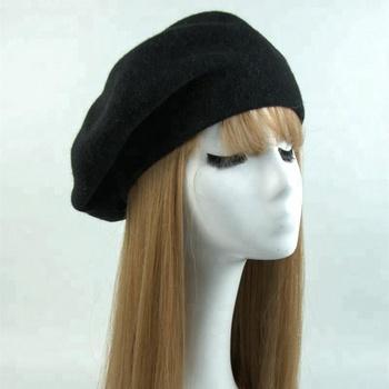 7891697042220 Winter Black Red Ladies Knit Felt French Beret Women Wool Hat Fashion Beret  Cap Women