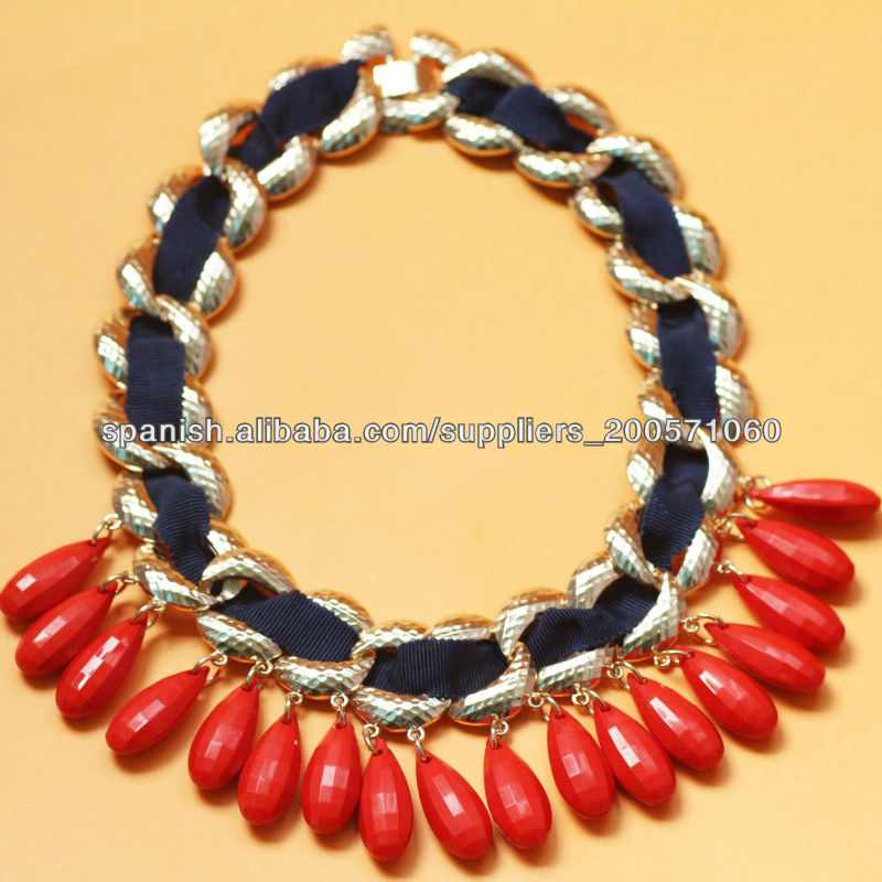 2013 mujeres accesorios de moda, cinta negro boga envueltos cadena collares  gruesos con coral perlas