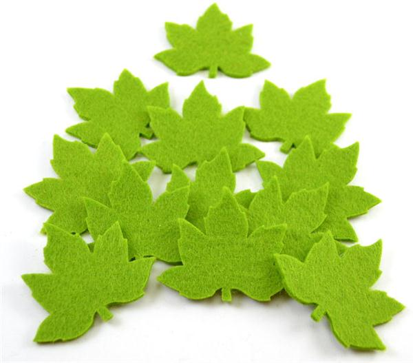 Alibaba best selling felt greeen leaves die cut leaf shape crafts for christmas decoration