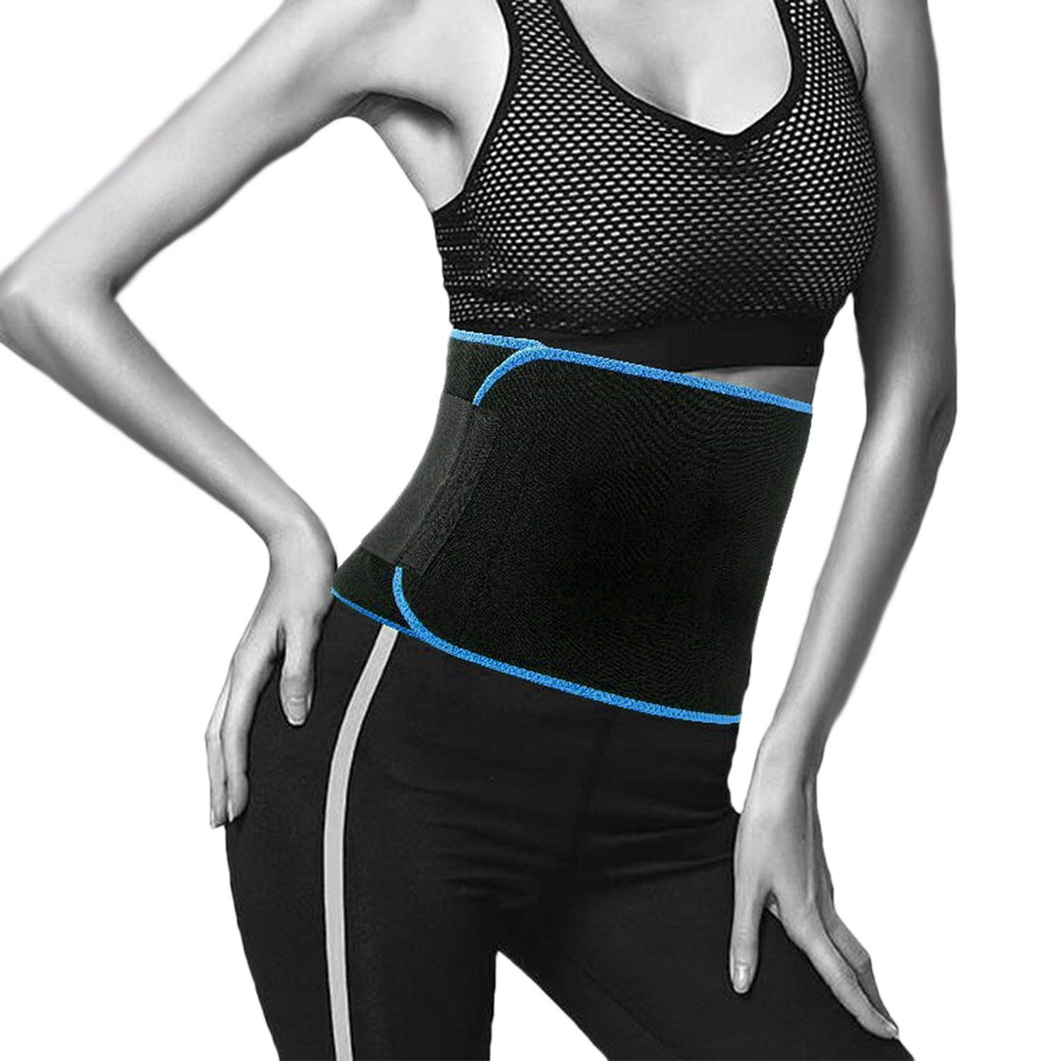 Sweat Waist Trimmer for Women Men, Adjustable Weight Loss Ab Belt Cincher Shapewear Bodysuits Waist Trainer Stomach Belly Fat Burner Wrap Muscle Back Support Workout Abdominal Trainers