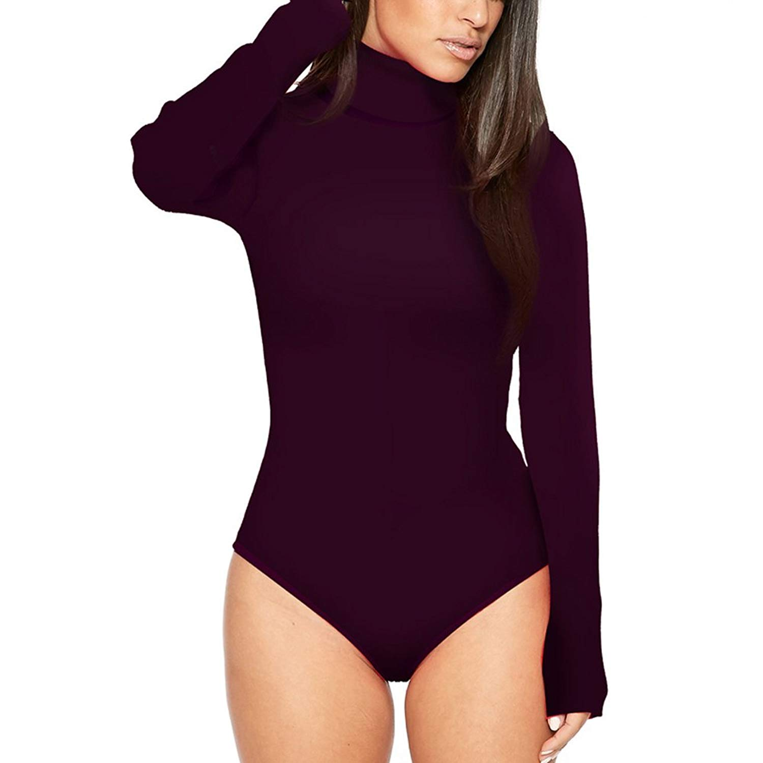 GUCHIS Womens Stretchy Turtleneck Long Sleeve Thong Bodysuit Solid Color  Romper 22b1b7e7a