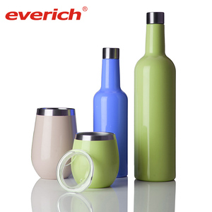 Stainless Steel Wine Tumbler Cups and Wine Bottle Set with Silicone Funnel and Cleaning Brush
