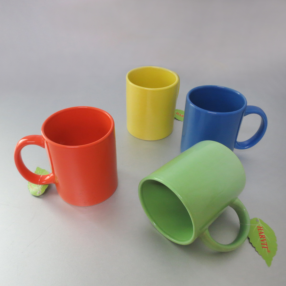 1 Dollar Items Glaze Color Ceramic Coffee Mug V Shape Solid Mugs Whole