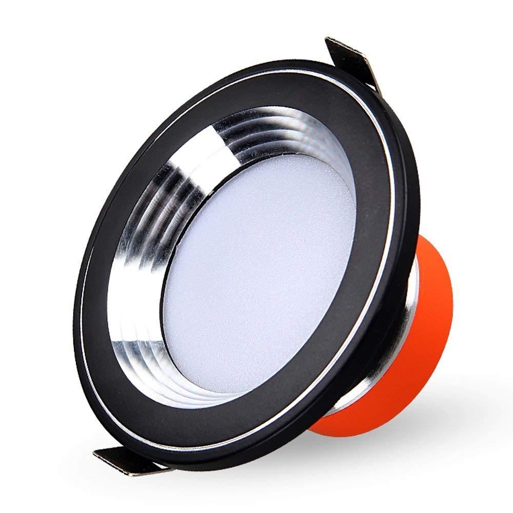 Splindg Modern Elegant Black 2.5Inch Aluminum Recessed LED Downlights Round Ceiling Lights 3W 5W 7W Super Bright Spotlights Indoor Lighting (Color : Warm Light, Size : 5w)