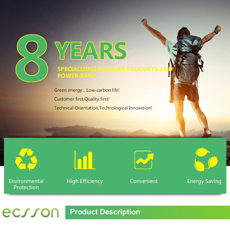 Meilleur Vendeur ECSSON ou OEM Solaire Étanche Banque De Puissance avec une Longue Durée De Vie Batterie Li-ion
