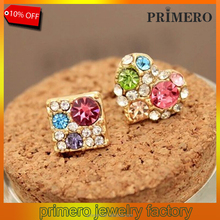 PRIMERO On Sale Promotion Multicolored Rhinestone Square Crystal Lovely Heart Asymmetrical Stud Earrings pave diamond earrings