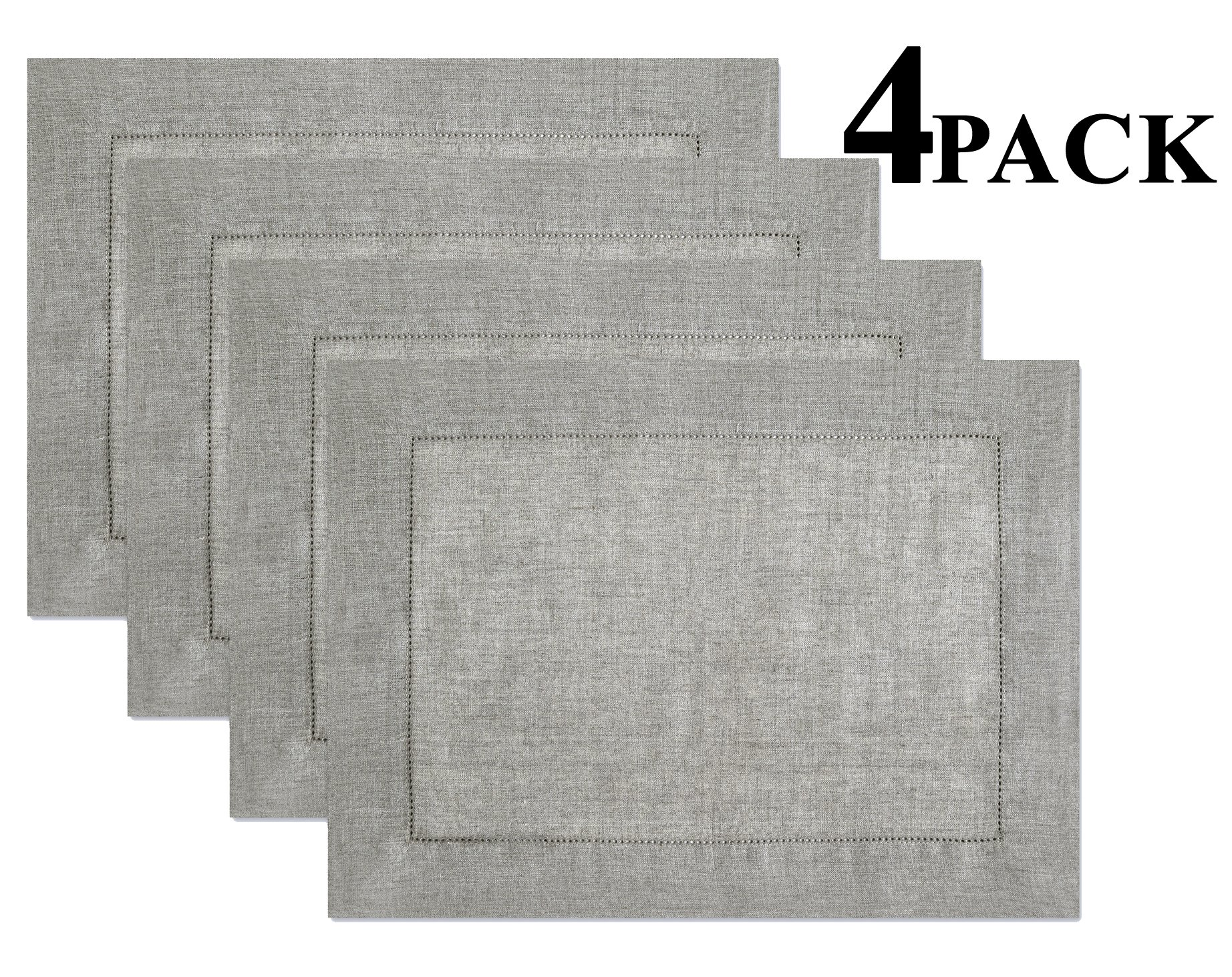 100% Linen Hemstitch Placemats - (Set of 4) Size 14x19 Charcoal - Hand Crafted and Hand Stitched Placemats with Hemstitch detailing. The pure Linen fabric works well in both casual and formal settings