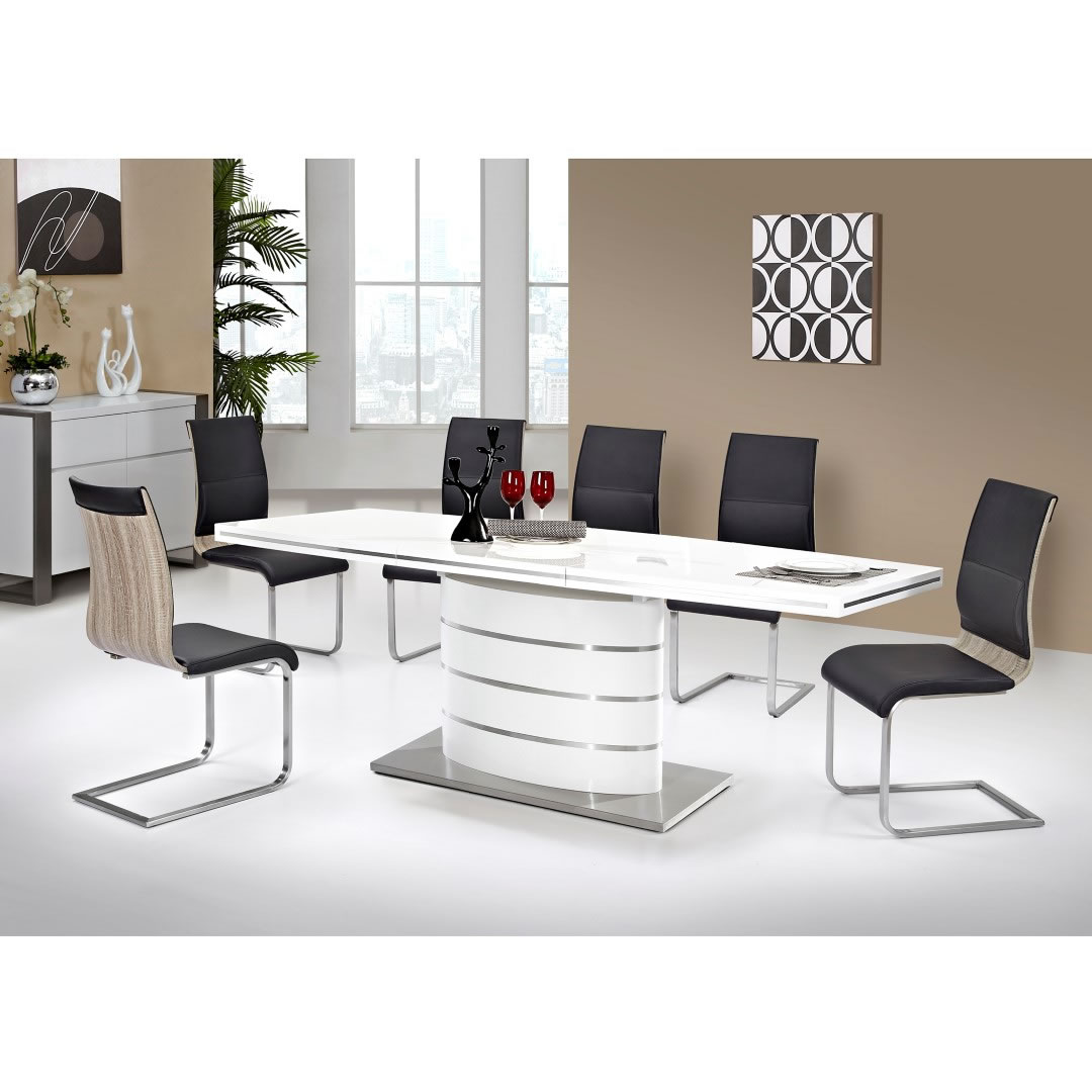 Customized White Luxury Elegant Indoor High Gloss MDF Extendable Dinning Dining Room Table For Sale