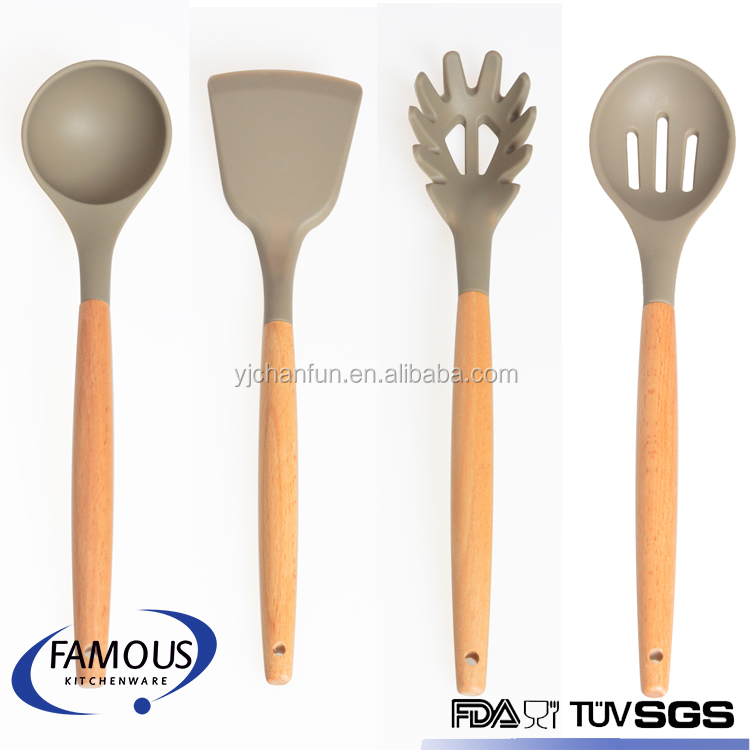 soup ladle / spatula / spaghetti fork / slotted spoon silicone kitchen utensil set with wooden handle