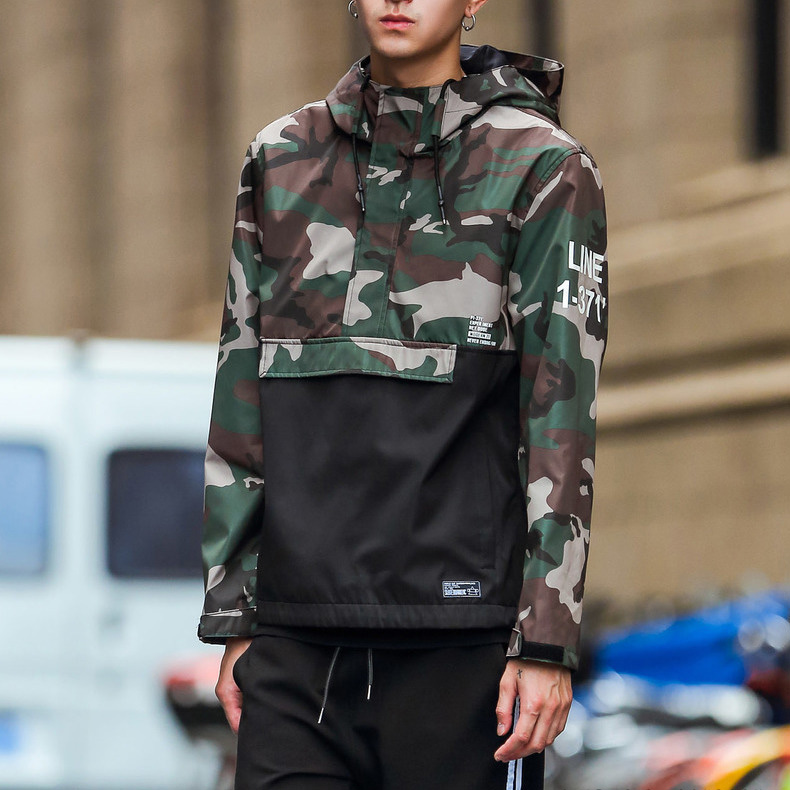cd4dd93f6e7af Cheap Wholesale Mens Custom Pullover Camo Windbreaker Jacket 100%Polyester  Two Tone Jacket