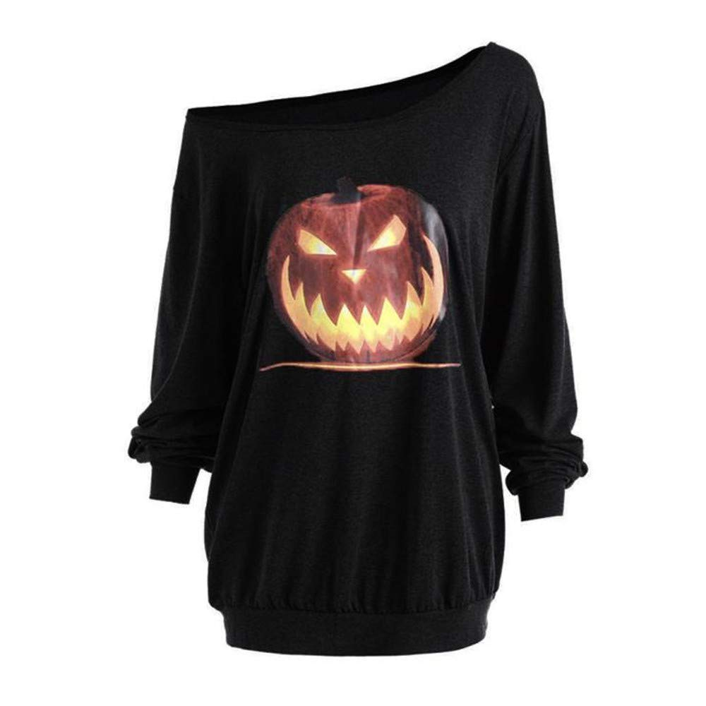 POTO Women Halloween Angry Pumpkin Sweatshirt,Off Shoulder Long Sleeve Shirt Pullover Slouchy Tops Blouse T Shirts