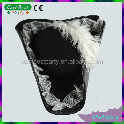 Leather with Feather Lace Pirate Captain Hat Halloween Fancy Dress