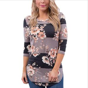 Fall 2019 Autumn 3/4 Sleeve Shirt Tunic Tops Blusas Feminina Fashion Women's Blouse Casual Floral Print Long Sleeve Blouses