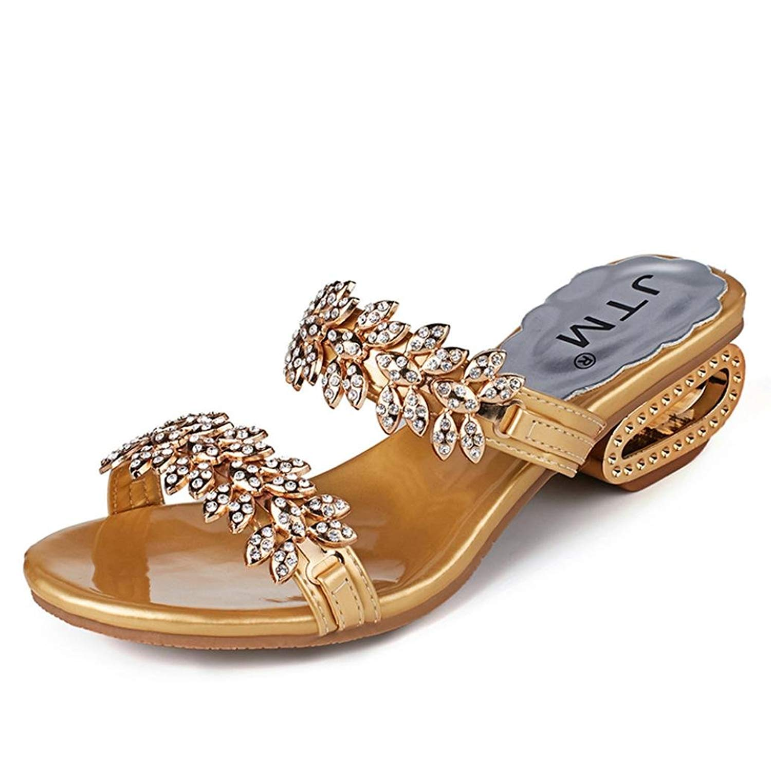 Sunbona Beach Slippers for Women,Ladies Summer Rhinestone Open Toe Flip Flops Low Heels Sandals Casual Party Shoes
