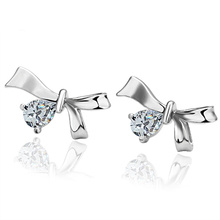 Cheap wholesale fashion butterfly pandant white gold plated crystal stud earrings LKN18KRGPE002