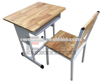 Educational Furniture Malaysia Solid Wood Best Study School Table And Chair Set