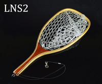 Wooden bamboo trout rubber fly fishing landing rubber net