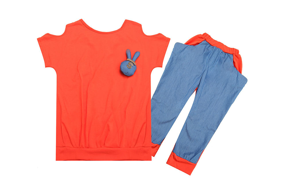 cute rabbit design little girl`s shirts+shorts high quality kids orange summer suit