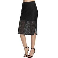 Women Overlay Geometry Pattern Elegant High Waist Split Design Ladies Pencil Office Skirts Lace Skirt