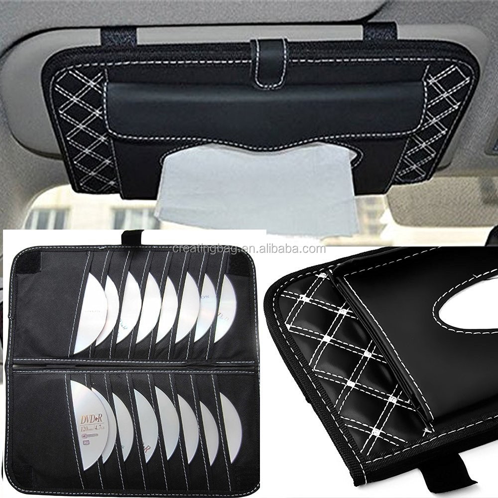 CD Visor Organizer Car Sun Visor Tissue Bag Multi Function Double-deck Auto Extra Car Vehicle Pocket