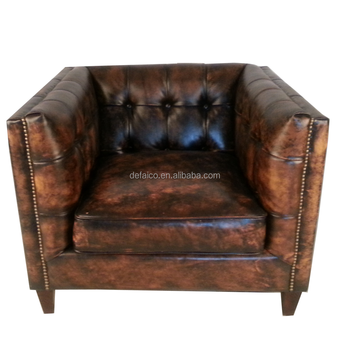 Cape Town Vintage Chunky Leather Square Armchair - Buy Leather