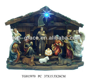 With led light high quality resin nativity sets