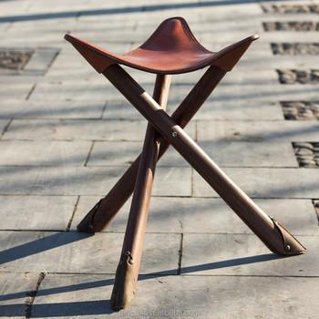 Sedie Pieghevoli In Cuoio.Treppiede Antico Sgabello Di Legno Di Cuoio Solido Pieghevole