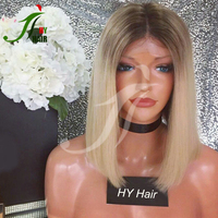 New Dark Roots Two Tone #4 Brown/613 Blonde Human Hair Short Bob Lace Front Wig Ombre Full Lace Wig Straight