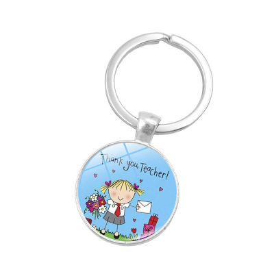 Metal Glass Keychain Thanks Teacher Keychain Gifts