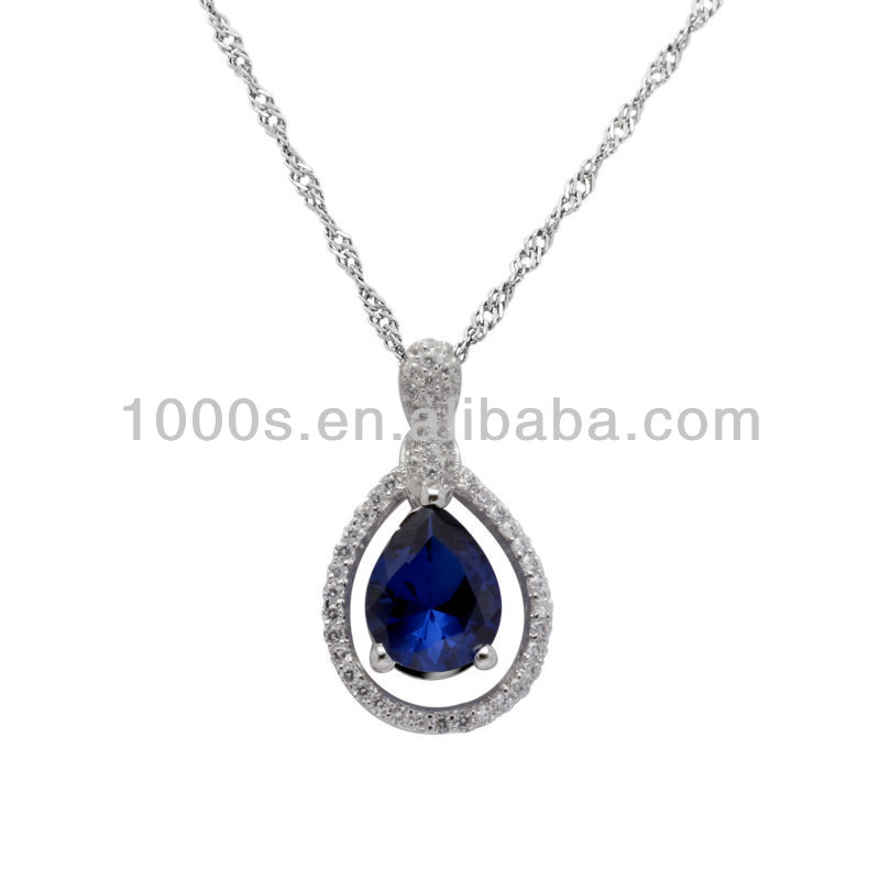 Elegant waterdrop/teardrop Blue rorundum pendant necklace